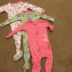 Lot of 3 cotton footie pajamas size 12mo